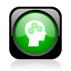 head black and green square web glossy icon