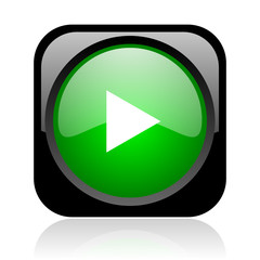 play black and green square web glossy icon