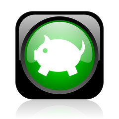 piggy bank black and green square web glossy icon