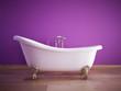 badewanne mit violetter wand