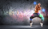 Fototapety young man dancing hip hop with color lines