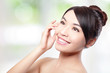 Beautiful woman smile face with clean face skin