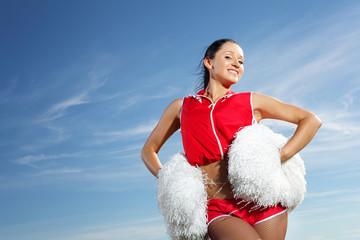 Young female cheerleader