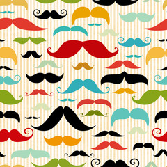 Mustache seamless pattern in vintage style
