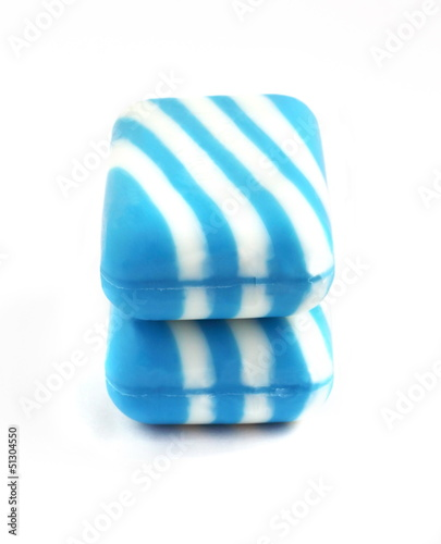 Two new color soap bars on white background