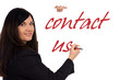 Business woman writes contact us
