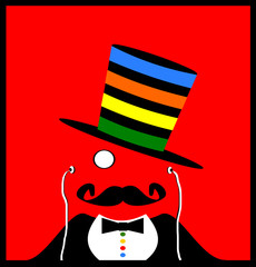 man with monocle and colorful top hat