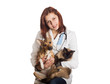 vet in medical uniform holding a cat and a dog on a white backgr