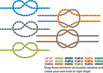 Vector pack of various climbing rope pattern