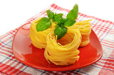 Pasta nests on a dish