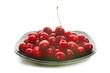 Sweet cherries on black dish