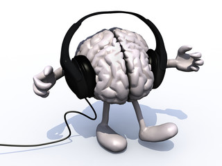 headphones on a big brain with arms and legs