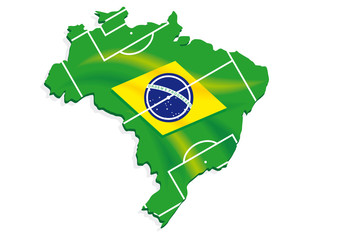 brazil map flag soccer