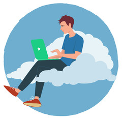 Working on a computer on a cloud
