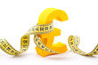 Golden pound symbol with measuring tape