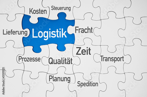 Puzzle in Blau mit Logistik