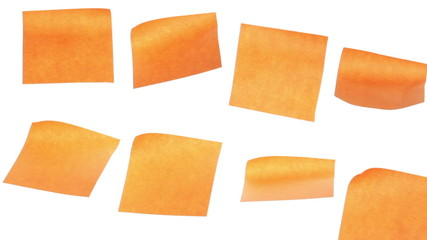 Eight yellow stickers isolated on white background. Time lapse.