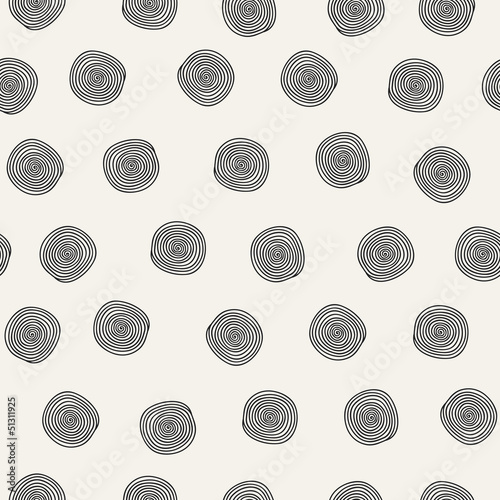 Seamless abstract pattern with black spirals
