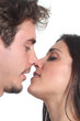 Couple ready to kiss with passion