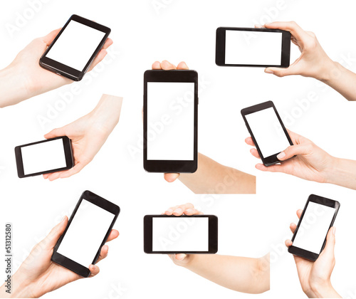 Hands holding smart phones isolated - 51312580