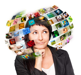 A technology woman has images around his head.