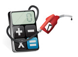 calculating profits with a gas pump nozzle