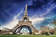 Paris - Eiffel Tower. Thunderstorm approaching the city