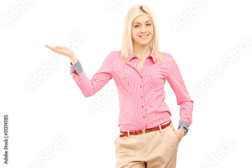 Smiling woman gesturing with hand