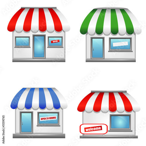Shop icons with awnings.
