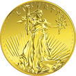 Vector American money gold coin Liberty