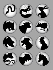 Chinese Zodiac Silhouettes Black and White