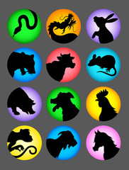 Chinese Zodiac Silhouettes Color Background