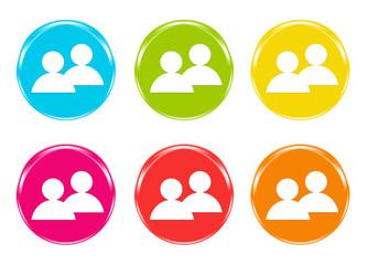 Iconos de colores con símbolos de personas