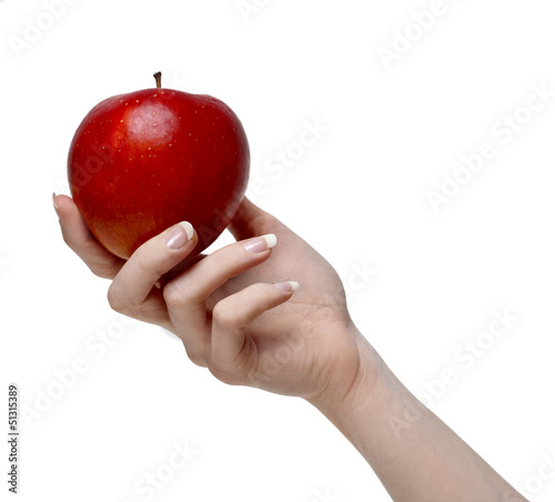 Red apple in beautiful hand isolated on white