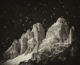 High Peaks of Dolomites. Italian Alps scenario at night poster