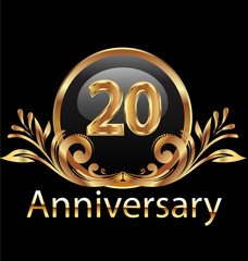20 years anniversary birthday in gold