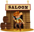 A man holding a gun in front of a saloon bar