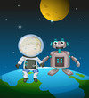 An astronaut beside a robot in the outer space