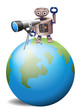 A robot with a telescope above a globe