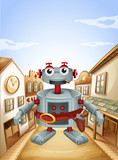 A village with a robot