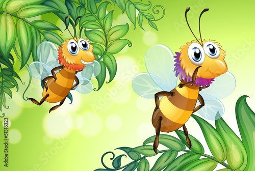 Two bees flying with many leaves