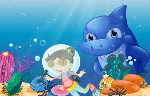 A young scuba diver