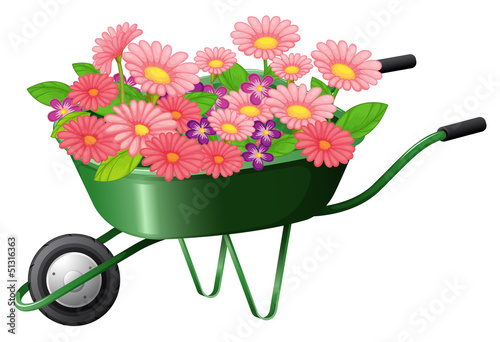 A construction cart with lots of flowers
