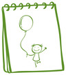 A notebook with a sketch of a young girl with a balloon