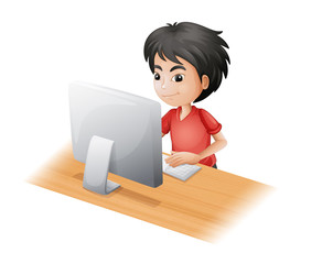 A young boy using the computer