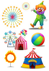 A clown with the different things in a carnival