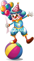 A clown holding balloons above the ball