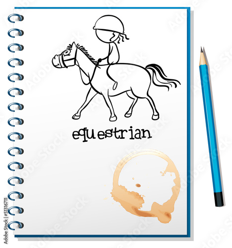 A notebook with a drawing of a girl riding a horse