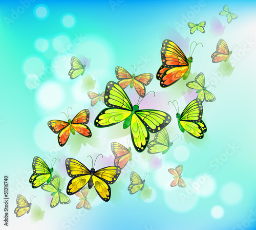 Poster Vlinders A blue colored stationery with butterflies