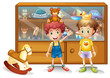Two young boys in front of a cabinet with toys